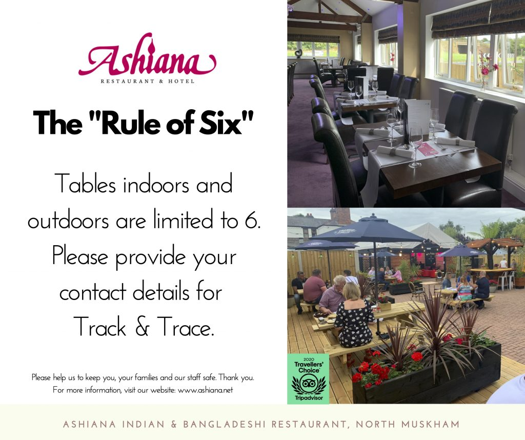 Guidance on the Rule of Six and dining at the Ashiana Indian Restaurant safely