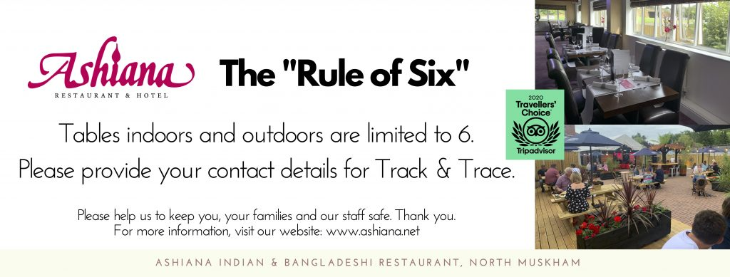 Guidance on Rule of Six dining at the Ashiana Indian Restaurant at North Muskham