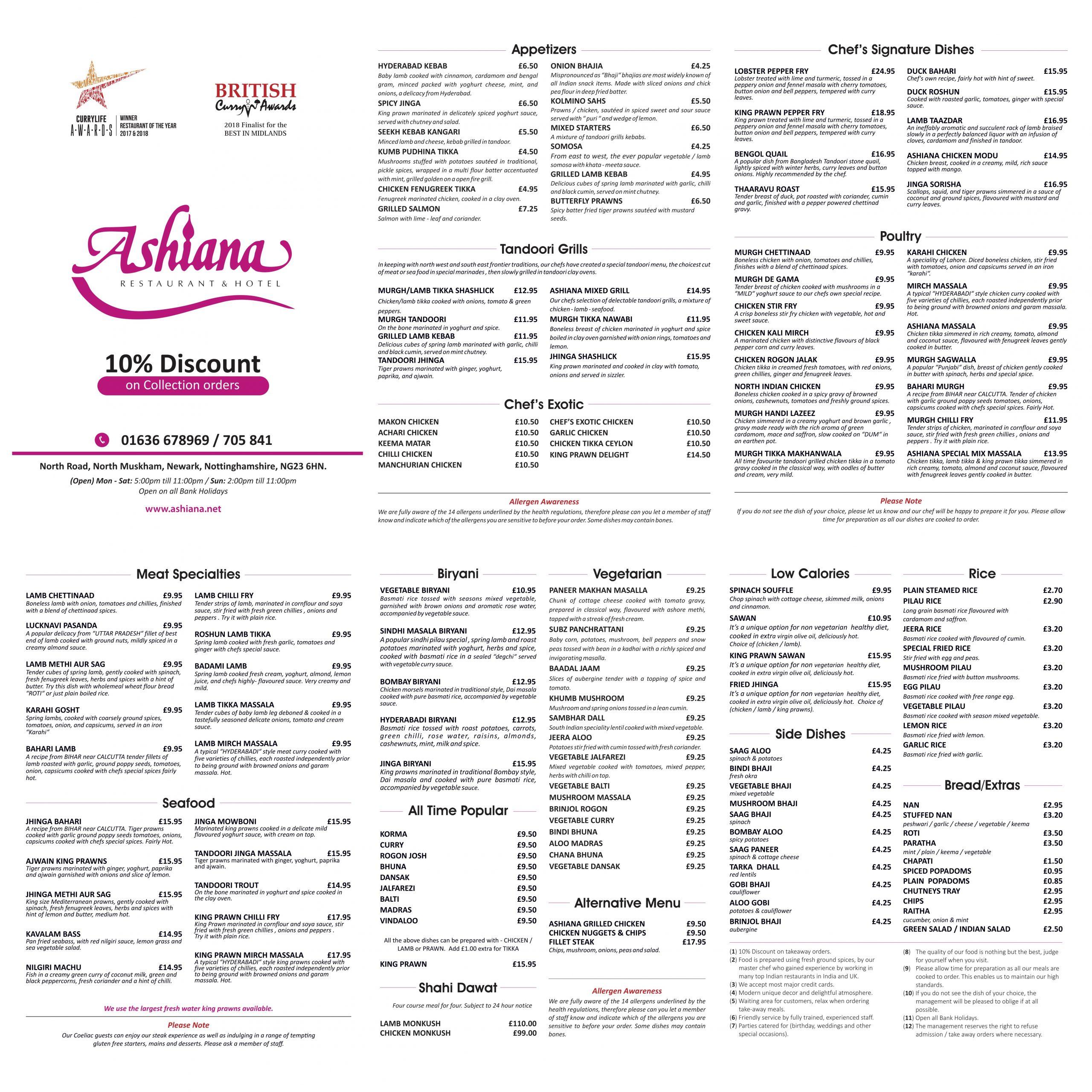 Takeaway menu for the Ashiana North Muskham near Newark