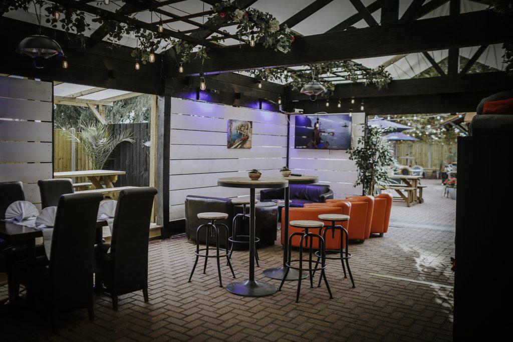 The alfresco outdoor dining area at the Ashiana Indian Restaurant at North Muskham near Newark.
