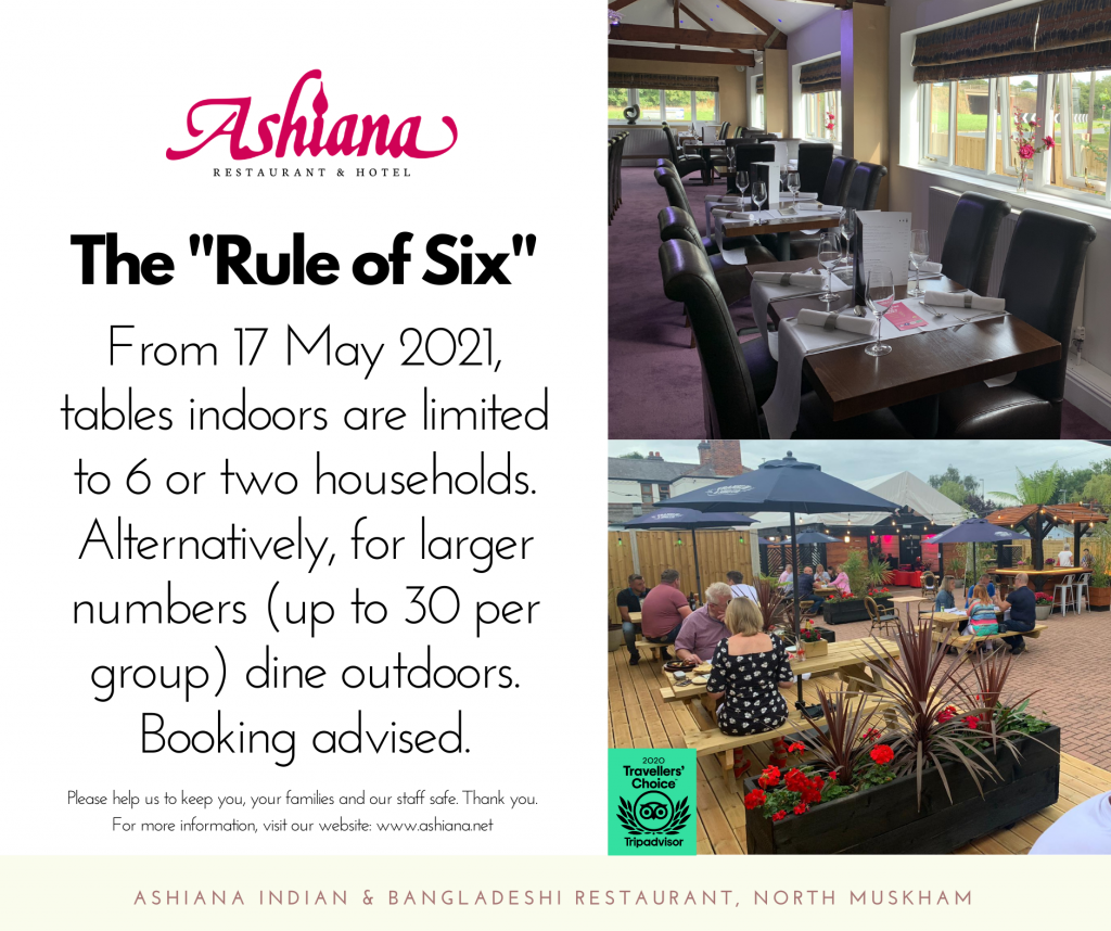 The Ashiana Indian restaurant at North Muskham near Newark will welcome diners indoors again from 17 May 2021